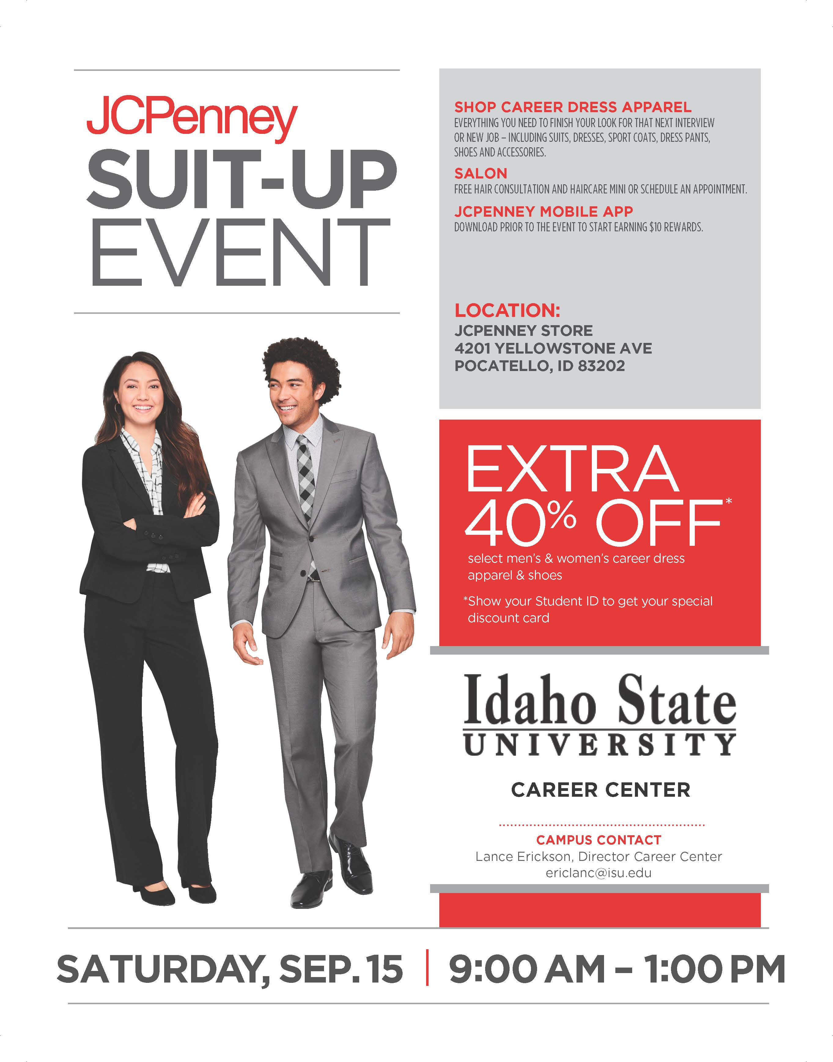 JCPenney suit up event flyer 40% off for ISU students on Saturday Sept 15th from 9am to 1pm