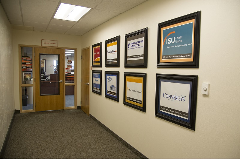 Career center entry with sponsor logos on the wall