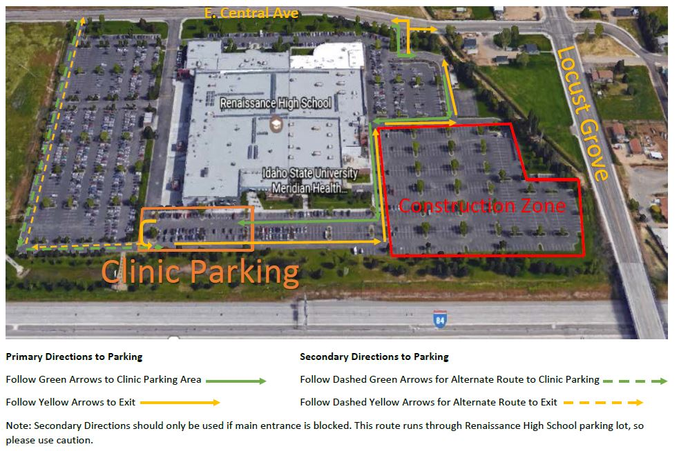 Detailed parking map for ISU Meridian