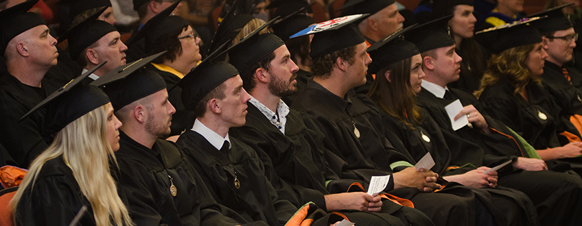 College of Education students at commencement ceremony