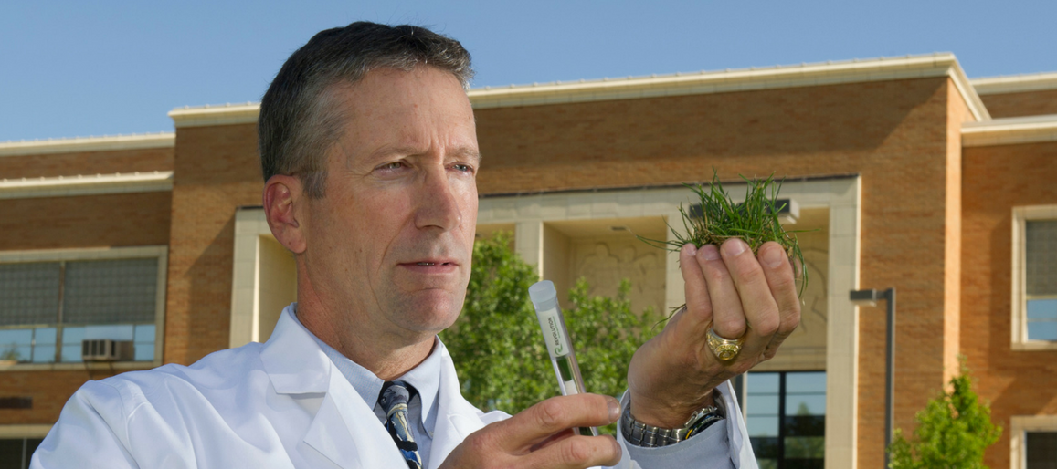 Dr. Meyers holding grass