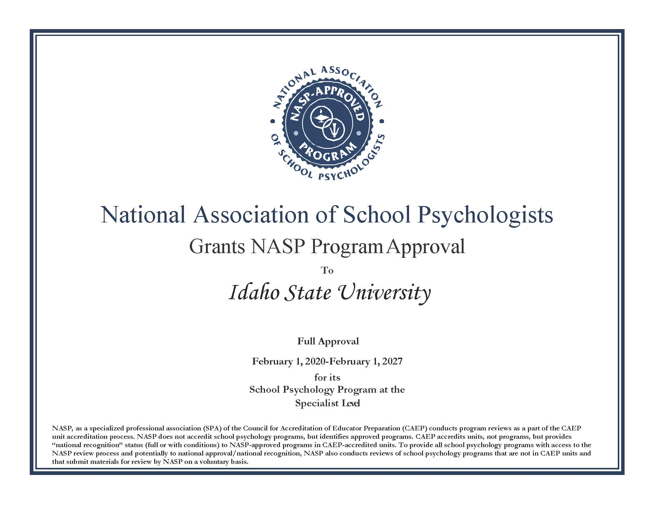 National Association of School Psychologists NASP Program Approval