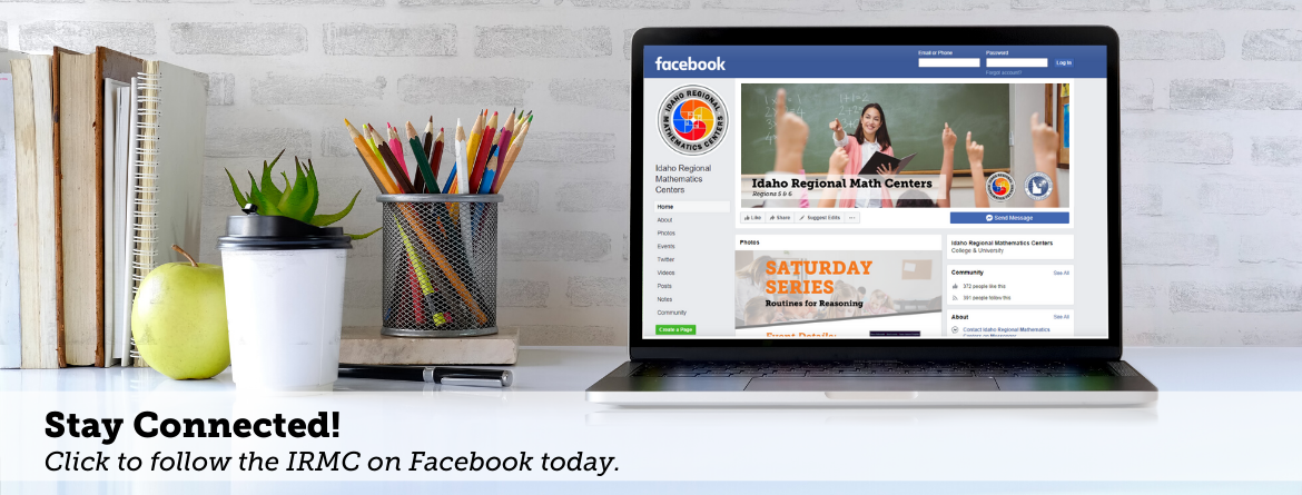 Laptop with RMC Facebook on screen reading, stay connected! Click to follow the IRCM on facebook today.