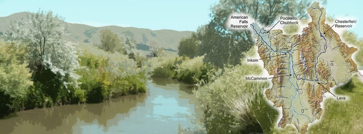 Portneuf River with map of the hydrologic unit for the Portneuf