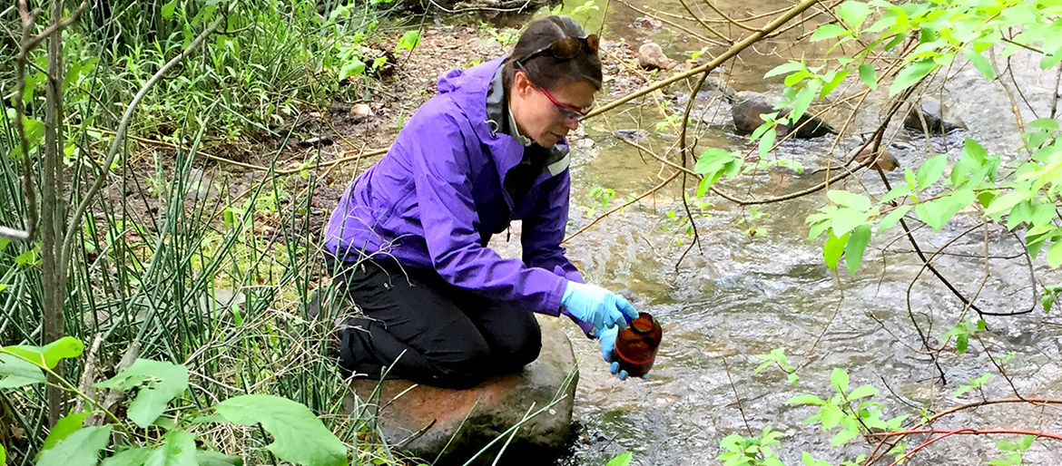 Professor collecting water sample