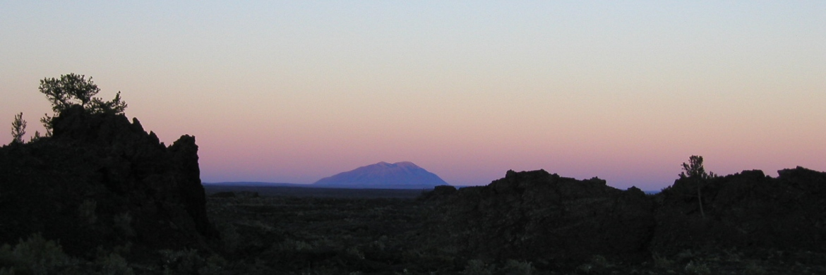 picture of a geologic landscape at sunset