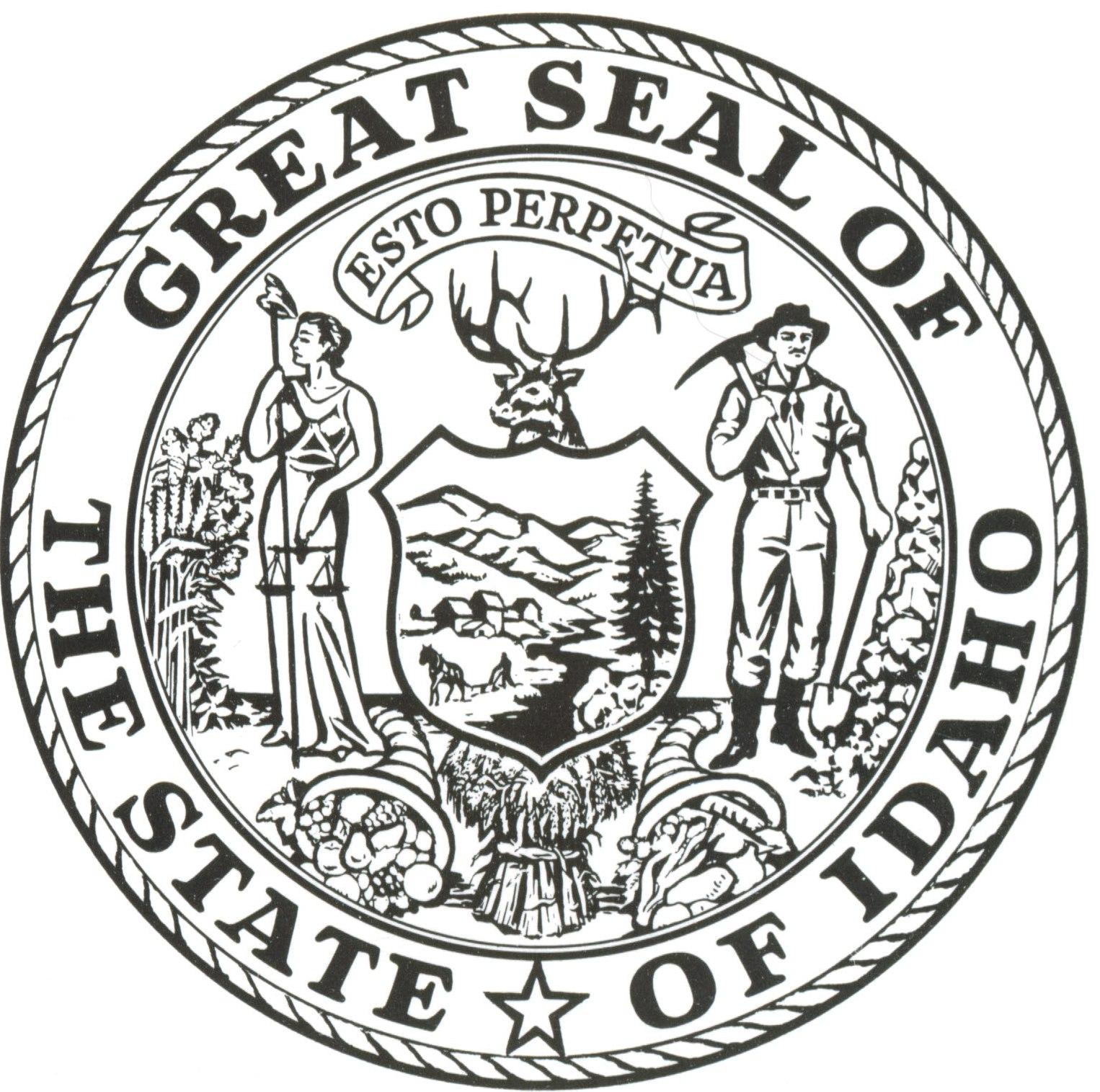 Black and white seal of idaho