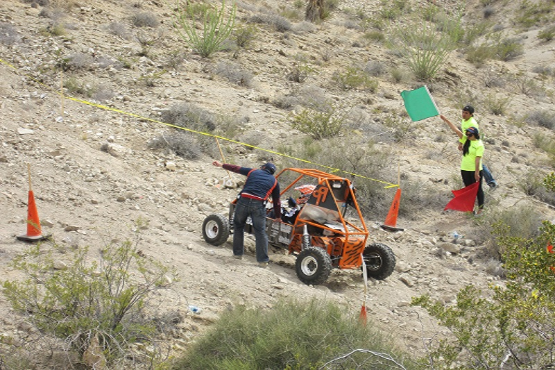 Baja car racing uphill