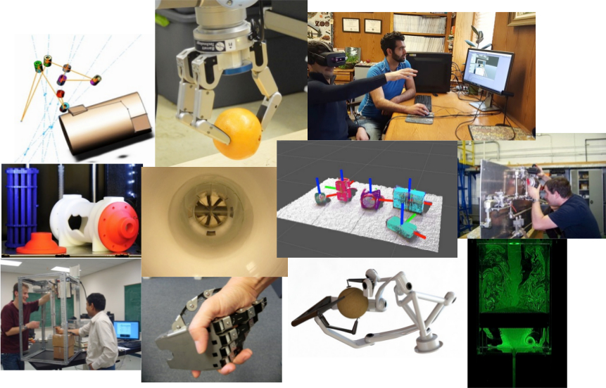Multiple images of ME research, students and faculty
