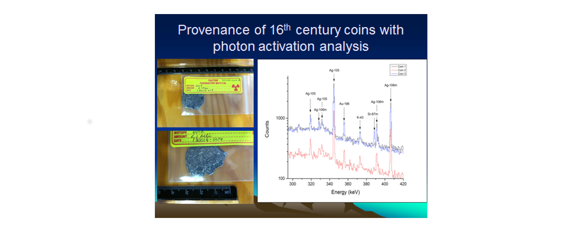 A16th Century coin and a graph with the photon activation analysis with text that says