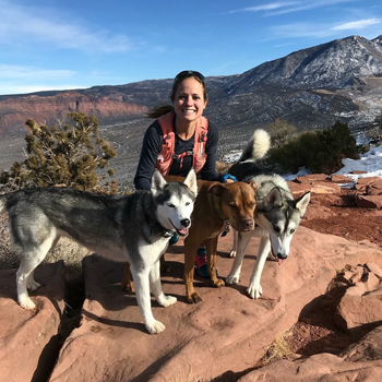 Brittany Peterson, Instructor/Academic Fieldwork Coordinator, OCCUPATIONAL THERAPY ASSISTANT PROGRAM With her dogs