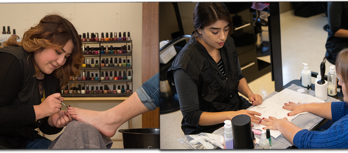 Nail Technician students working in the lab