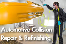 Automotive Collision Repair & Refinishing Student Painting a Car Bumper