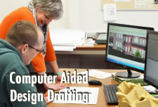 CADD Student working in lab