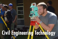 Student working with surveying equipment