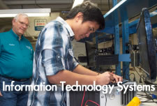 Information Technology Systems student in lab