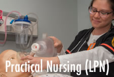 Practical Nursing (LPN) student in SIM Lab