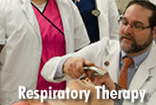 Respiratory Therapy Instructor in lab