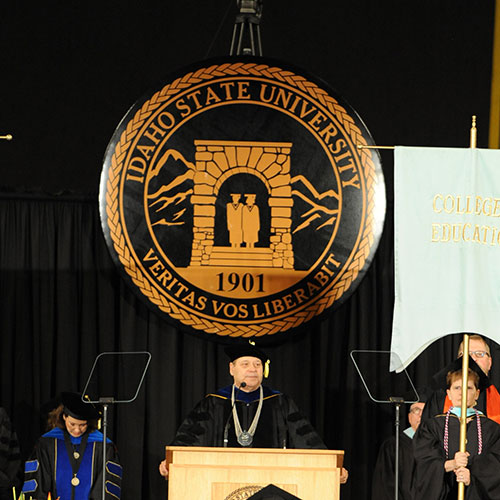 University seal on the commencement podium