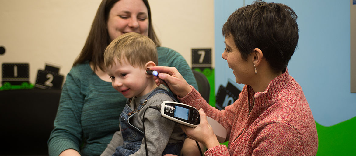 Hearing test performed on toddler