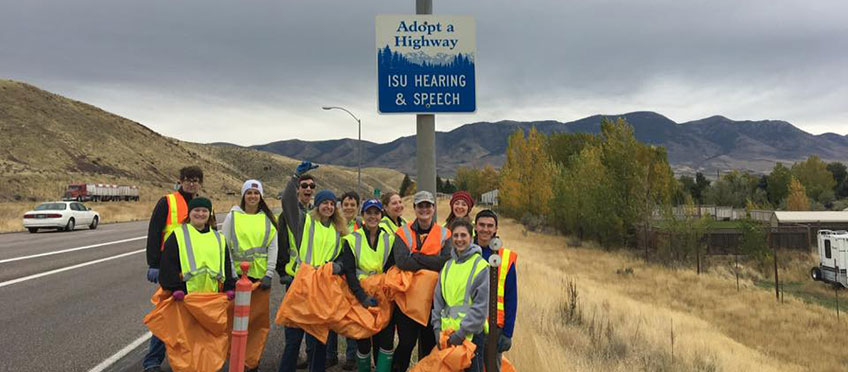 Audiology students particpate in Highway cleanup