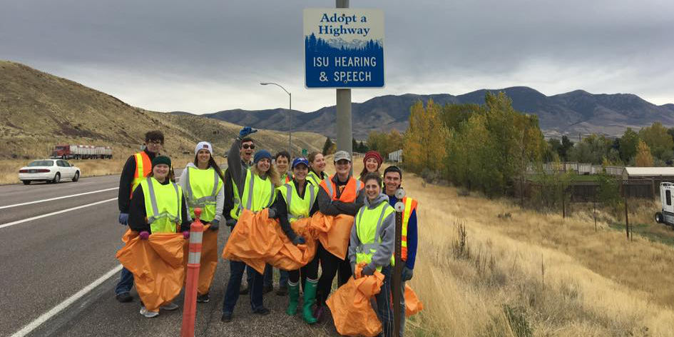 Students and faculty volunteer for a little highway clean up and have some fun along the way!