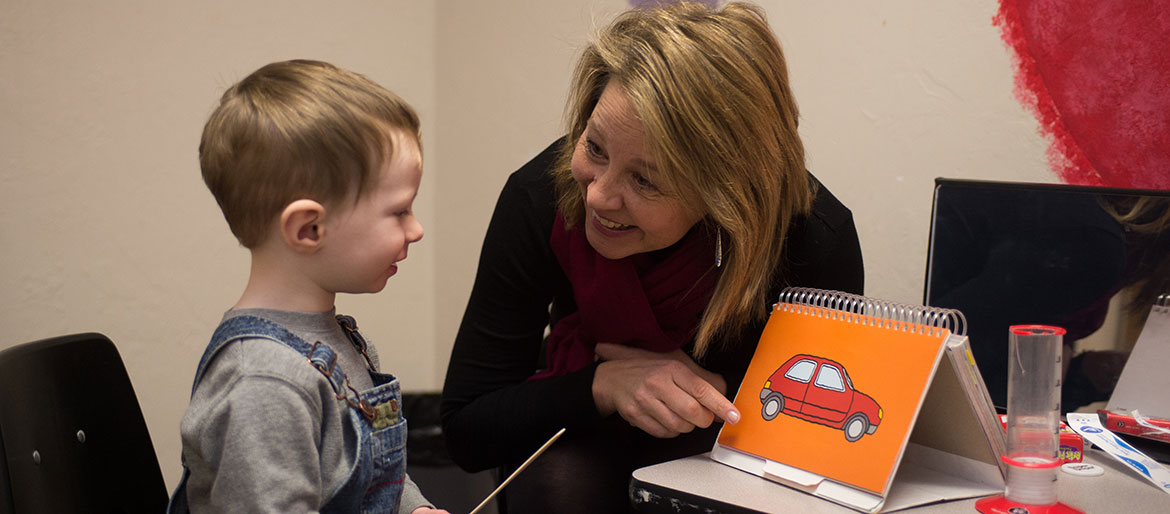 Child receives speech therapy