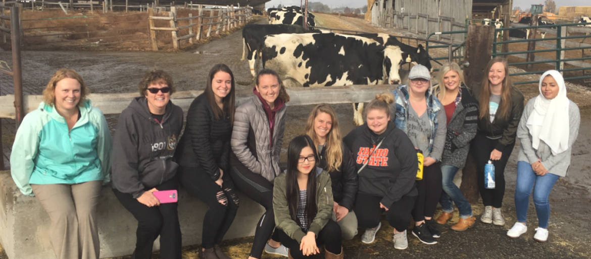 Dietetic students visit local dairy farm for hands-on learning about farm to table