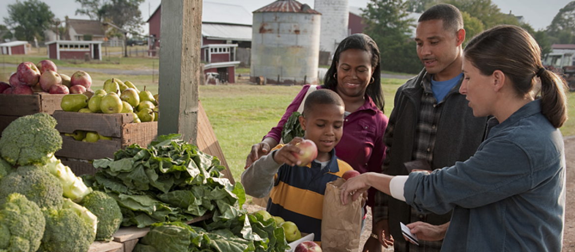 Dietitian educating African American family on vegetable options at local farmer's market