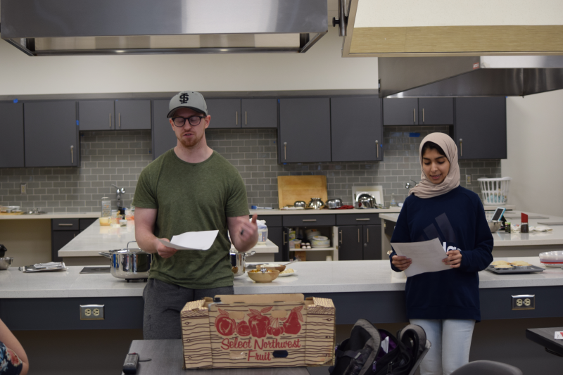 The Foods Lab includes space for students to give presentations on their findings of experiments