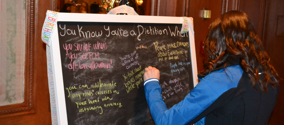 Dietetic Interns, attending the Idaho state meeting, write on chalk board that they know they are a dietitian when...