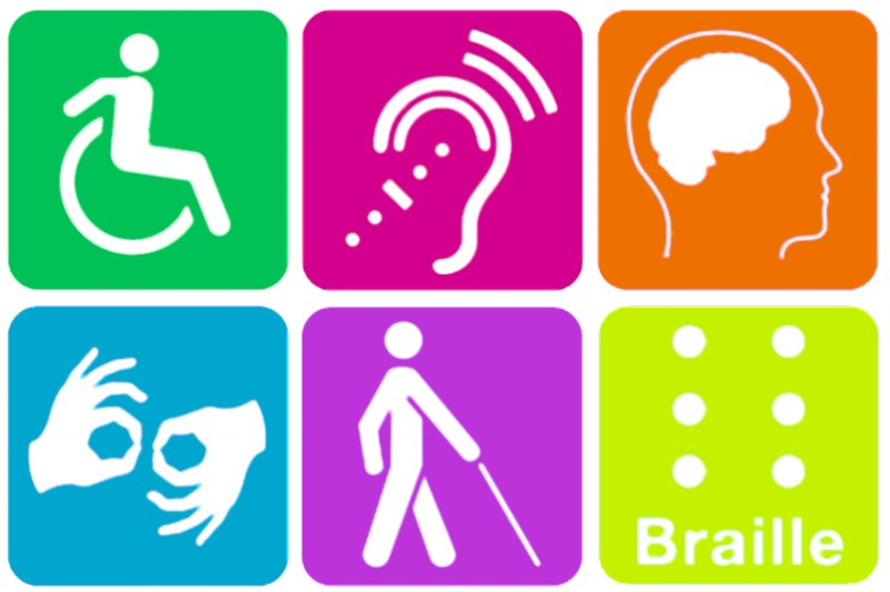 Images of disabilities, e.g., hearing loss, mobility, blindness