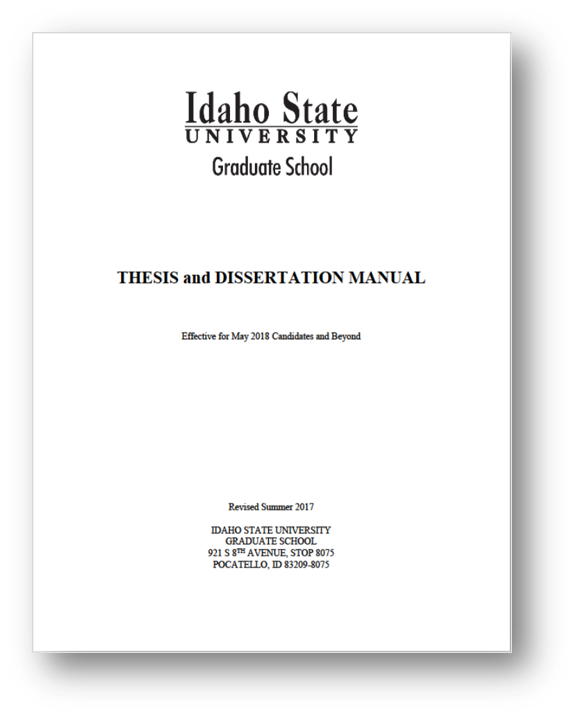 Screengrab of cover of the ISU Thesis and Dissertation Manual