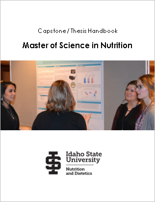 Cover of the student handbook providing details about the master of nutrition capstone project and optional thesis