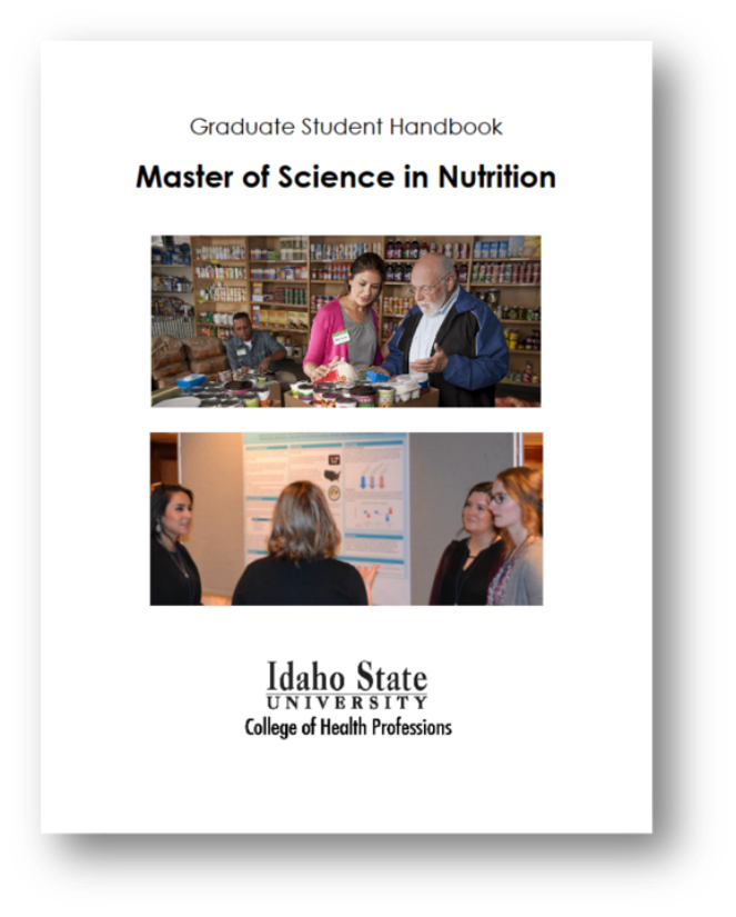 Cover of the master of science in nutrition handbook, picture of RDN with senior gentleman at food back and picture of students presenting research at a medical meeting