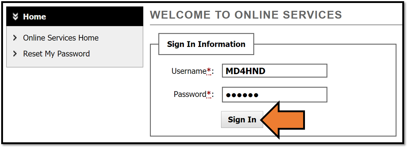 DS Service Portal sign in page