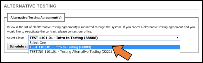 Selecting the class related to the DS Testing Agreement you would like to review by clicking on the drop-down box next to the Select Class: