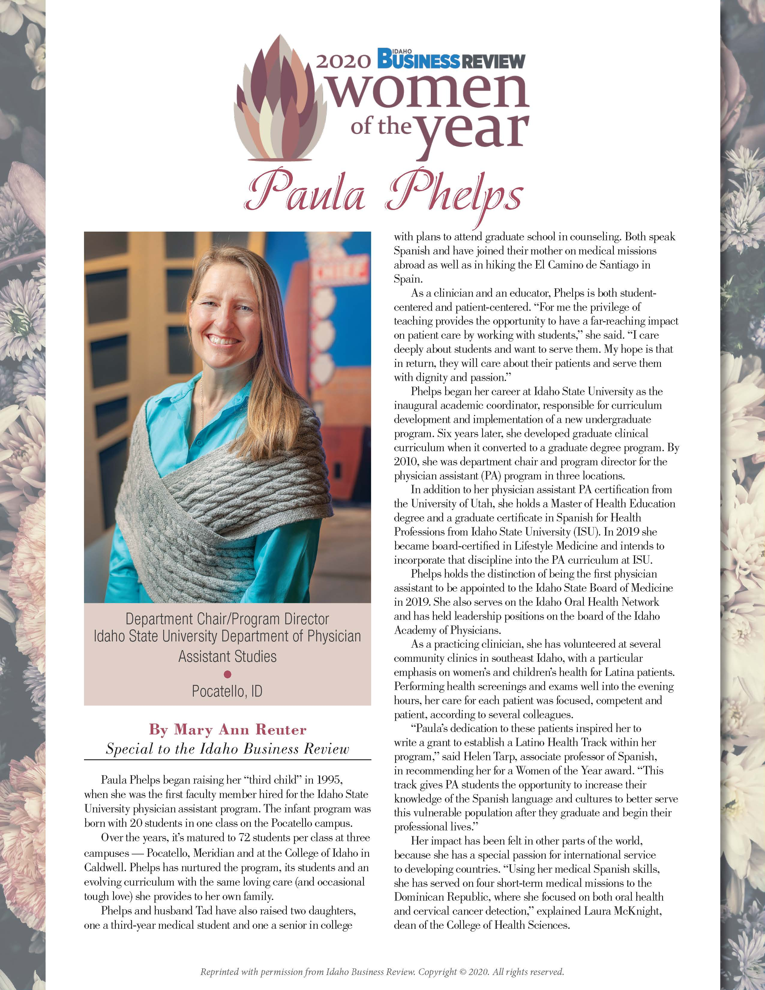 Women of the Year magazine page featuring Paula Phelps with photo and bio