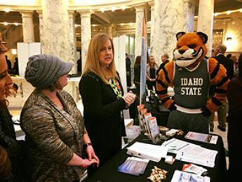 Nursing students with Benny the Bengal at ISU Day at the Capitol