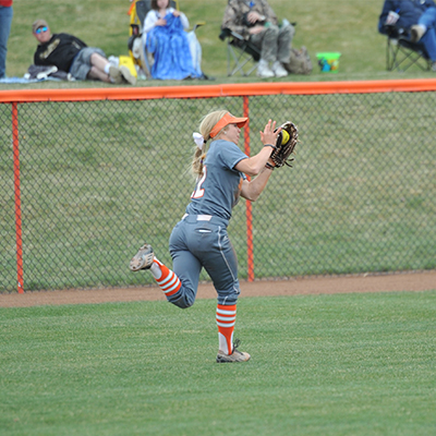 Nursing student and Bengal Softball player Kacie Burnett catches a ball during a home game