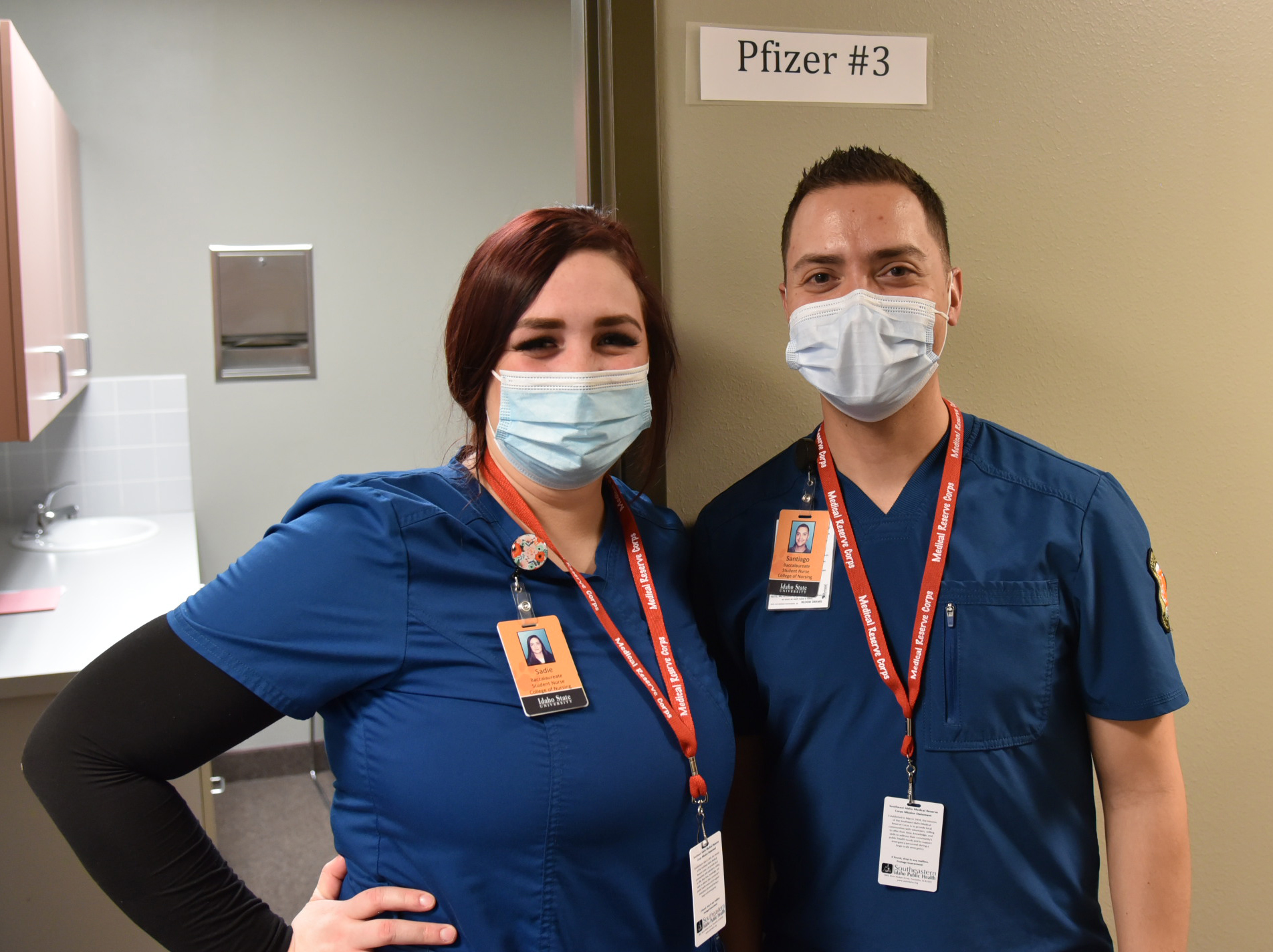 Two nursing students volunteer at a COVID-19 vaccine clinic in Pocatello