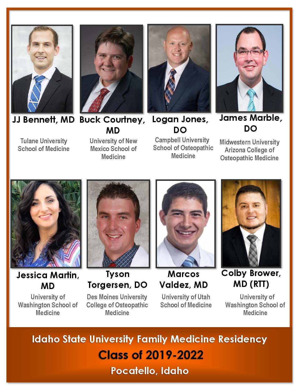 Eight images showing the new Family Medicine Residency Class of 2022 physicians