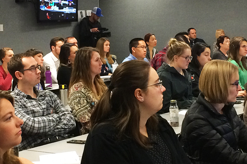 Students, faculty, and community members fill the room at ISU-Meridian for Research Day 2018, dedicated to combating Idaho's opioid overuse epidemic