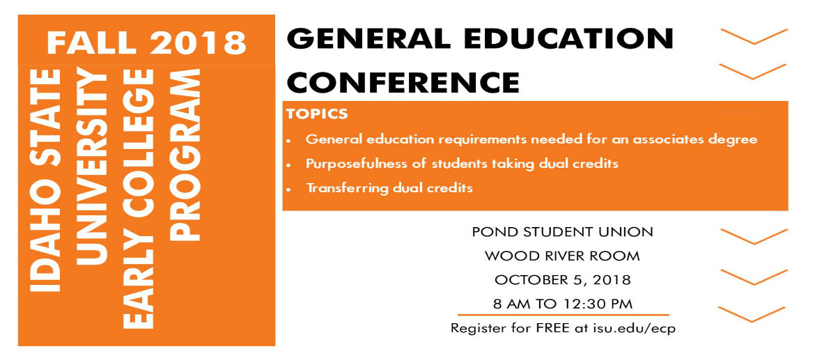 Information about a General Education Conference to be held at ISU on October 5, 2018.