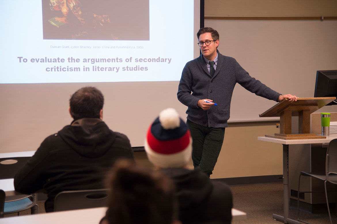 Professor Matt Levay in classroom with students