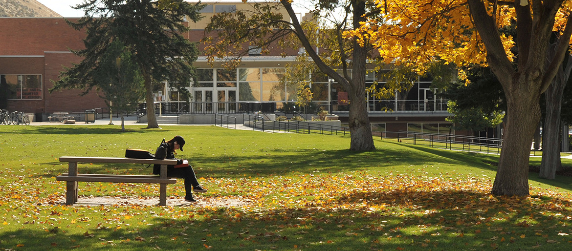 Student writing on the quad in the fall