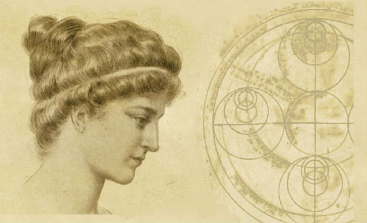 woman profile and philosophical wheel