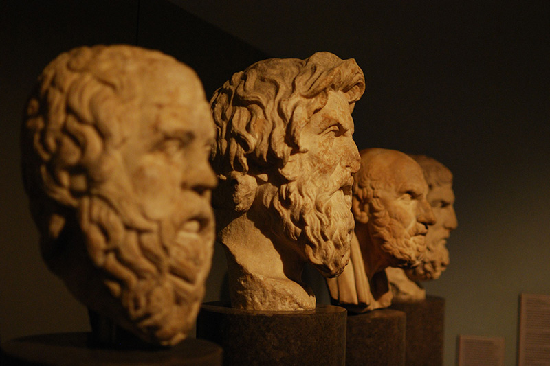 Busts of ancient philosophers