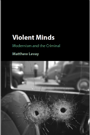 Cover of book Violent Minds published by Matthew Levay showing two bullet holes in car window