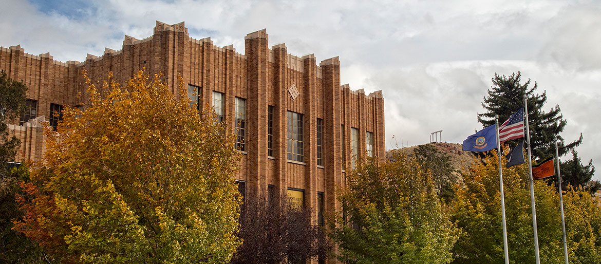 Administration Building in the fall